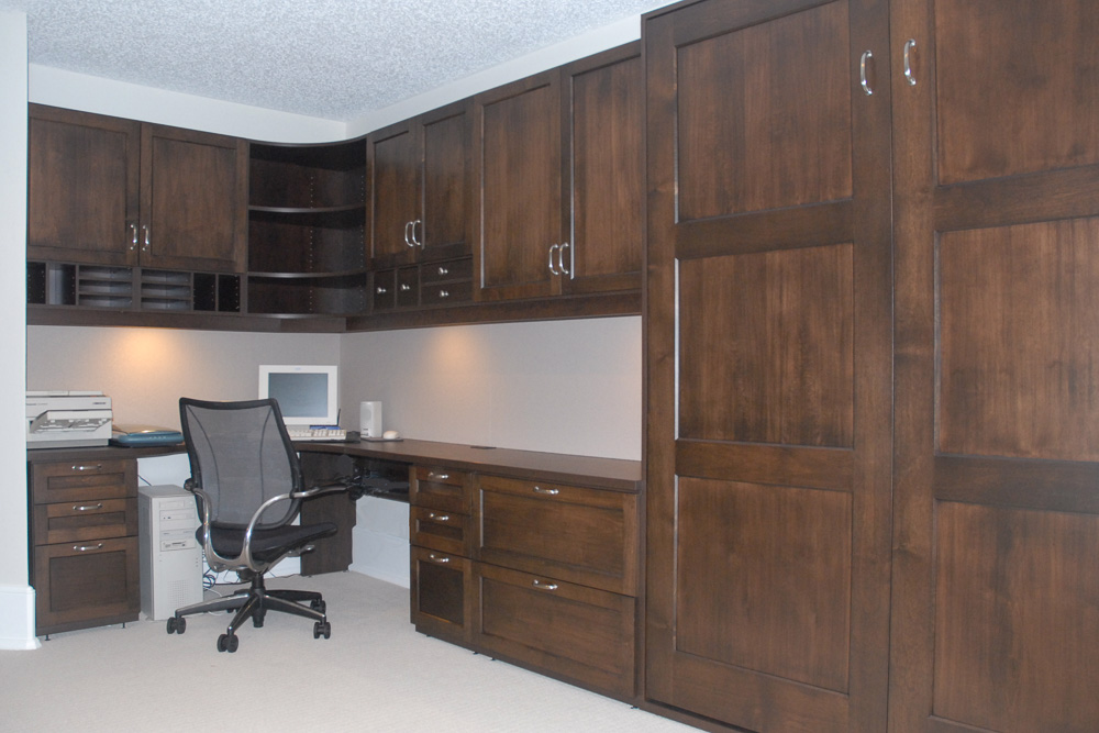 hometime project guest room home office chocolateflame hardwood fronts - Home Time Furniture